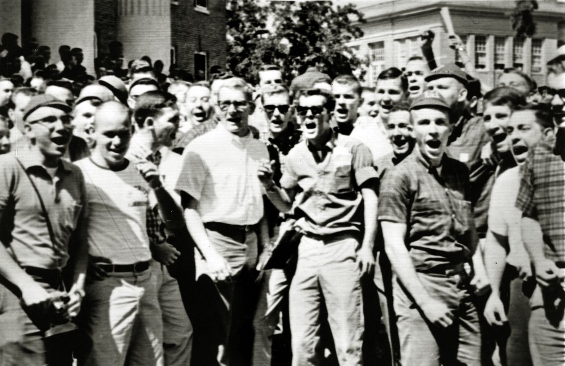 People Civil Rights. U.S.A. pic: September 1962. Oxford, Mississippi. White students yell and scream insults as James Meredith was soon to arrive at the campus. James Meredith was the first black student at the University of Mississippi, his enrollment e